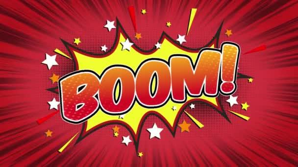 Boom slovo Retro kreslený komiks bubliny Popup styl výrazy barevné bomby a kouřit tečkovaný pruh a červená radiální rychlosti linky bezešvé smyčka animace černá / zelená obrazovka 4k doodle pozadí