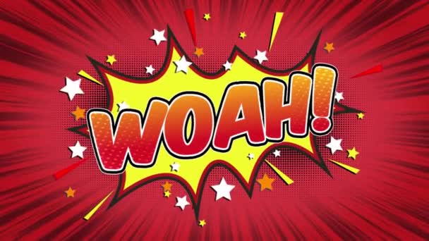 Woah Word Retro Cartoon Comic Bubbles Popup Style Expressions Colored Bomb and Smoke Strip Dotted and red Speed Radial line Seamless loop Animation black / green screen 4k doodle background