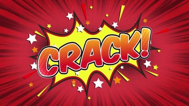 Crack slovo Retro kreslený komiks bubliny Popup styl výrazy barevné bomby a kouřit tečkovaný pruh a červená radiální rychlosti linky bezešvé smyčka animace černá / zelená obrazovka 4k doodle pozadí