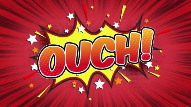 Au slovo Retro kreslený komiks bubliny Popup styl výrazy barevné bomby a kouřit tečkovaný pruh a červená radiální rychlosti linky bezešvé smyčka animace černá / zelená obrazovka 4k doodle pozadí