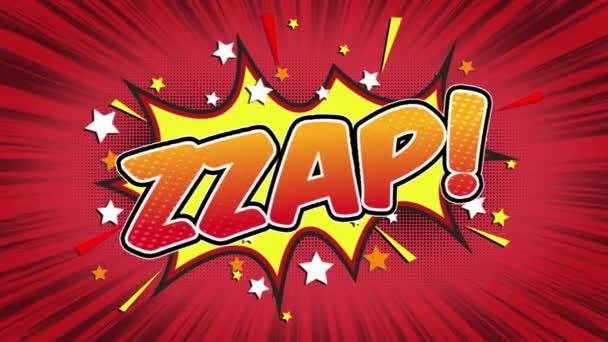 zzap slovo Retro kreslený komiks bubliny Popup styl výrazy barevné bomby a kouřit tečkovaný pruh červené radiální rychlosti linky bezešvé smyčka animace černá / zelená obrazovka a 4k doodle pozadí