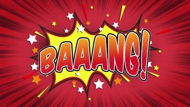 Baaang slovo Retro kreslený komiks bubliny Popup styl výrazy barevné bomby a kouřit tečkovaný pruh a červená radiální rychlosti linky bezešvé smyčka animace černá / zelená obrazovka 4k doodle pozadí