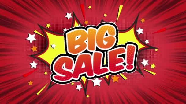 Big sale Word Retro Cartoon Comic Bubbles Popup Style Expressions Colored Bomb and Smoke Strip Dotted and red Speed Radial line Seamless loop Animation black / green screen 4k doodle background