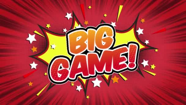 Big game Word Retro Cartoon Comic Bubbles Popup Style Expressions Colored Bomb and Smoke Strip Dotted and red Speed Radial line Seamless loop Animation black / green screen 4k doodle background