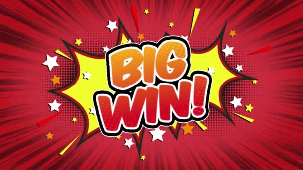 Big Win Word Retro Cartoon Comic Bubbles Popup Style Expressions Colored Bomb and Smoke Strip Dotted and red Speed Radial line Seamless loop Animation black / green screen 4k doodle background