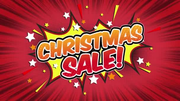 Christmas Sale Word Retro Cartoon Comic Bubbles Popup Style Expressions Colored Bomb and Smoke Strip Dotted and red Speed Radial line Seamless loop Animation black / green screen 4k doodle background