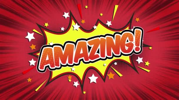 amazing Word Retro Cartoon Comic Bubbles Popup Style Expressions Colored Bomb and Smoke Strip Dotted and red Speed Radial line Seamless loop Animation black / green screen 4k doodle background