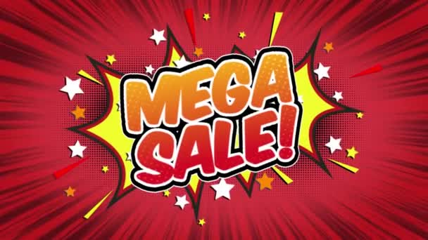 mega_sale Word Retro Cartoon Comic Bubbles Popup Style Expressions Colored Bomb and Smoke Strip Dotted and red Speed Radial line Seamless loop Animation black / green screen 4k doodle background