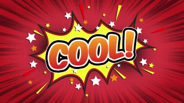 cool Word Retro Cartoon Comic Bubbles Popup Style Expressions Colored Bomb and Smoke Strip Dotted and red Speed Radial line Seamless loop Animation black / green screen 4k doodle background
