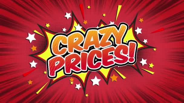 crazy Prices Word Retro Cartoon Comic Bubbles Popup Style Expressions Colored Bomb and Smoke Strip Dotted and red Speed Radial line Seamless loop Animation black / green screen 4k doodle background