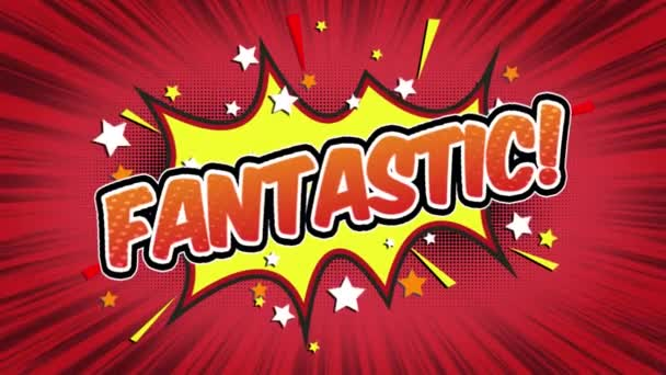 fantastic Word Retro Cartoon Comic Bubbles Popup Style Expressions Colored Bomb and Smoke Strip Dotted and red Speed Radial line Seamless loop Animation black / green screen 4k doodle background