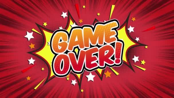 Game over Word Retro Cartoon Comic Bubbles Popup Style Expressions Colored Bomb and Smoke Strip Dotted and red Speed Radial line Seamless loop Animation black / green screen 4k doodle background