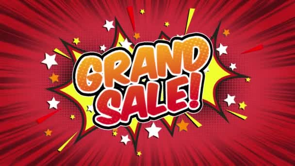 grand sale Word Retro Cartoon Comic Bubbles Popup Style Expressions Colored Bomb and Smoke Strip Dotted and red Speed Radial line Seamless loop Animation black / green screen 4k doodle background
