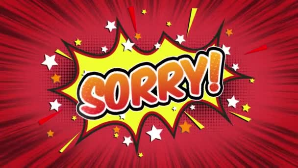 Sorry Word Retro Cartoon Comic Bubbles Popup Style Expressions Colored Bomb and Smoke Strip Dotted and red Speed Radial line Seamless loop Animation black / green screen 4k doodle background