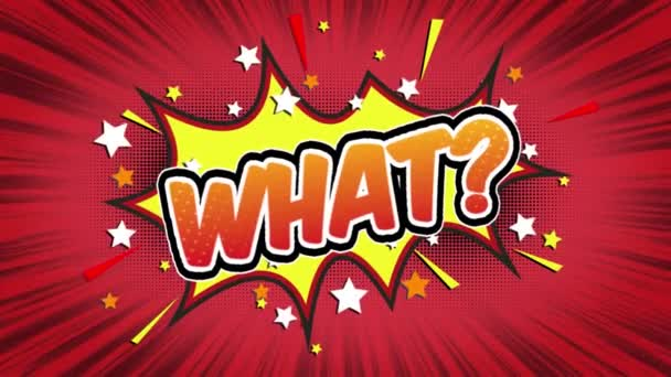 what Word ? Retro Cartoon Comic Bubbles Popup Style Expressions Colored Bomb and Smoke Strip Dotted and red Speed Radial line Seamless loop Animation black / green screen 4k doodle background