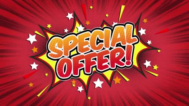 special offer Word Retro Cartoon Comic Bubbles Popup Style Expressions Colored Bomb and Smoke Strip Dotted and red Speed Radial line Seamless loop Animation black / green screen 4k doodle background
