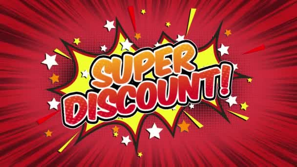 Super discount Word Retro Cartoon Comic Bubbles Popup Style Expressions Colored Bomb and Smoke Strip Dotted and red Speed Radial line Seamless loop Animation black / green screen 4k doodle background