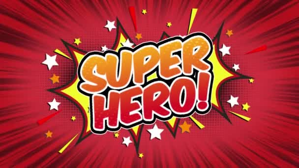 Super Hero Word Retro Cartoon Comic Bubbles Popup Style Expressions Colored Bomb and Smoke Strip Dotted and red Speed Radial line Seamless loop Animation black / green screen 4k doodle background