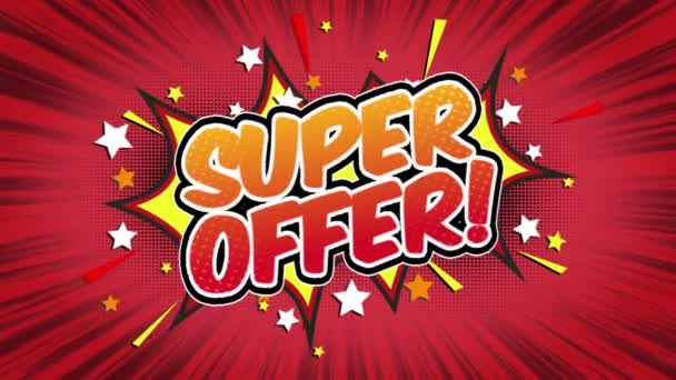 Super offer Word Retro Cartoon Comic Bubbles Popup Style Expressions Colored Bomb and Smoke Strip Dotted and red Speed Radial line Seamless loop Animation black / green screen 4k doodle background