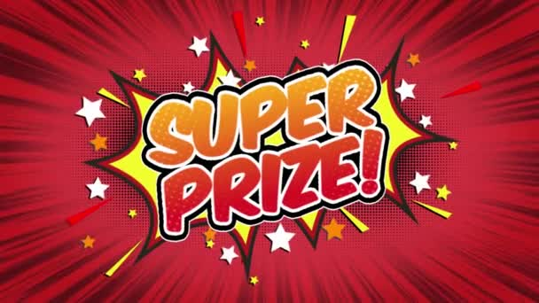 Super Prize Word Retro Cartoon Comic Bubbles Popup Style Expressions Colored Bomb and Smoke Strip Dotted and red Speed Radial line Seamless loop Animation black / green screen 4k doodle background