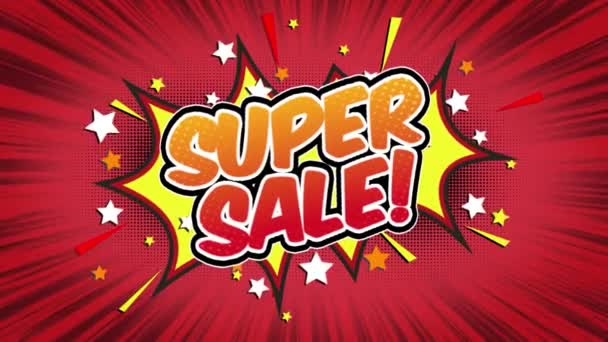 Super sale Word Retro Cartoon Comic Bubbles Popup Style Expressions Colored Bomb and Smoke Strip Dotted and red Speed Radial line Seamless loop Animation black / green screen 4k doodle background