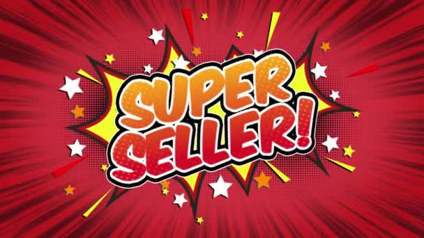 Super seller Word Retro Cartoon Comic Bubbles Popup Style Expressions Colored Bomb and Smoke Strip Dotted and red Speed Radial line Seamless loop Animation black / green screen 4k doodle background