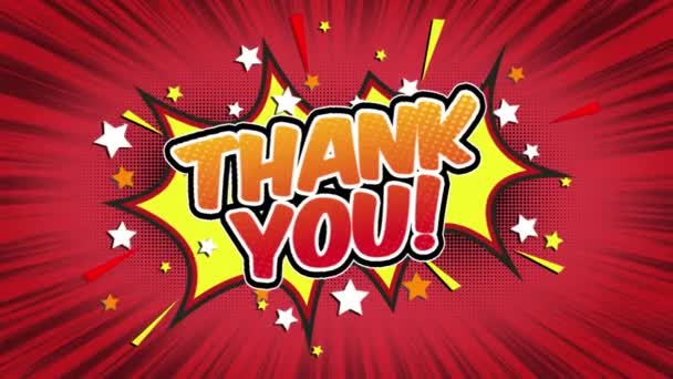 thank you Word Retro Cartoon Comic Bubbles Popup Style Expressions Colored Bomb and Smoke Strip Dotted and red Speed Radial line Seamless loop Animation black / green screen 4k doodle background