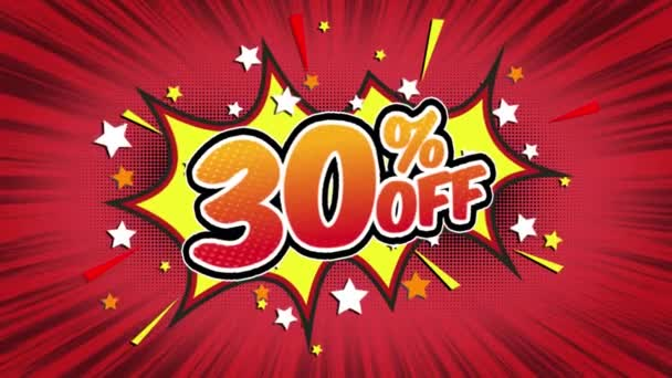 30% off Word Retro Cartoon Comic Bubbles Popup Style Expressions Colored Bomb and Smoke Strip Dotted and red Speed Radial line Seamless loop Animation black / green screen 4k doodle background