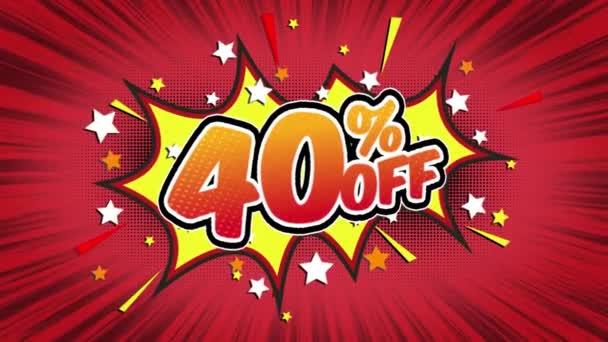 40 % sleva na slovo Retro kreslený komiks bubliny Popup styl výrazy barevné bomby a kouřit tečkovaný pruh a červená radiální rychlosti linky bezešvé smyčka animace černá / zelená obrazovka 4k doodle pozadí