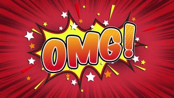 OMG slovo Retro kreslený komiks bubliny Popup styl výrazy barevné bomby a kouřit tečkovaný pruh a červená radiální rychlosti linky bezešvé smyčka animace černá / zelená obrazovka 4k doodle pozadí