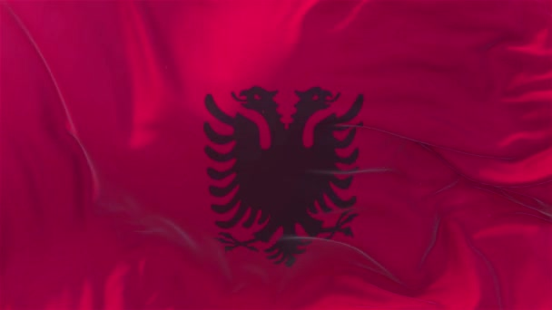Albania Flag in Slow Motion Classic Flag Smooth blowing in the wind on a windy day rising sun 4k Continuous seamless loop Background