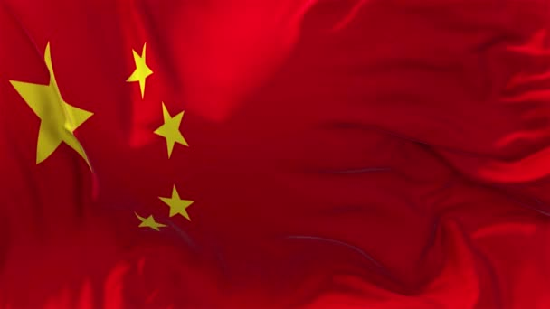 China Flag in Slow Motion Classic Flag Smooth blowing in the wind on a windy day rising sun 4k Continuous seamless loop Background
