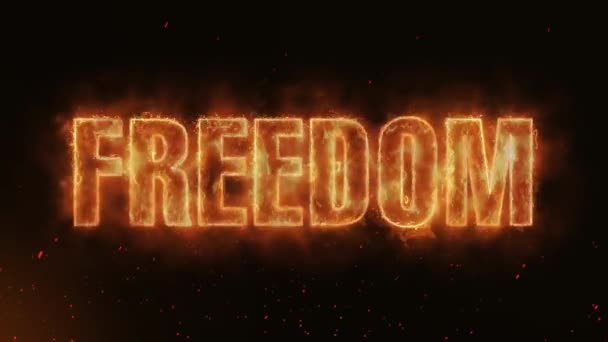 Freedom Word Hot Burning on Realistic Fire Flames Sparks And Smoke continuous seamlessly loop Animation