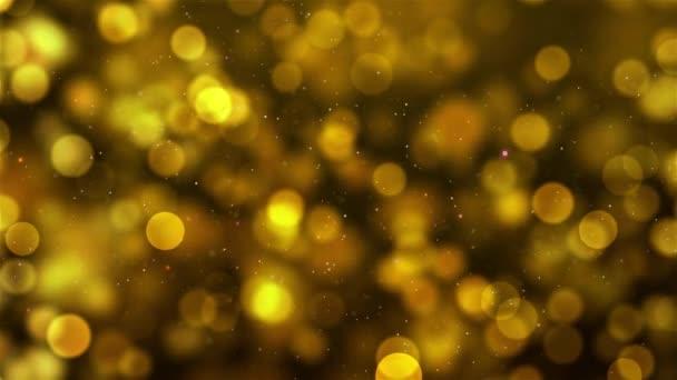Zlatý bokeh abstraktní blikající zářící třpytivé bokeh pozadí částice prachu s pohyblivými a blikání blikání částice bezešvé smyčka podklad pro ocenění, akce, svatba, oslava