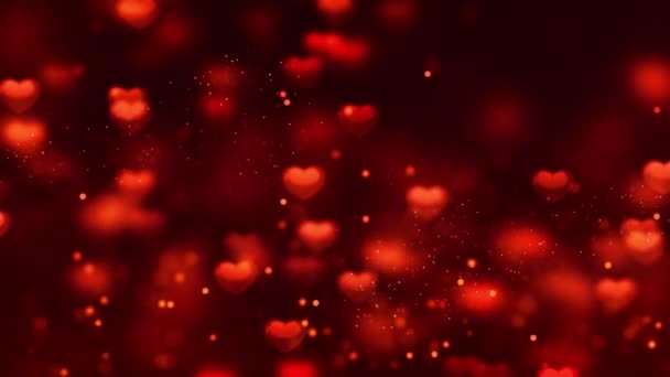 red heart with small Romantic Spinning Dangling Glowing Love Hearts colored Particles Moving Loop Background For Valentines Day, Mothers Day, birthday, Wedding , anniversary , greeting invitation.