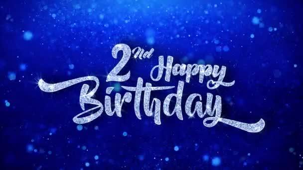 2. Glückwunsch zum Geburtstag Gruß glänzender Text Wünsche blauer glitzernder Glitzerglanz Glamour Staub blinkende Teilchen durchgehender nahtloser Schleifenhintergrund
