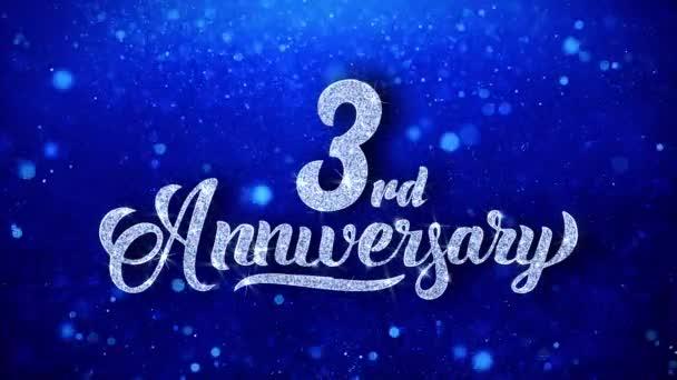 3. výročí pozdrav lesklý Text přeje modré třpytky šumivé Glitter Glamour prach blikající částice kontinuální bezešvé cyklických pozadí