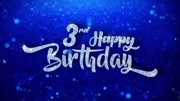 3 šťastné narozeniny pozdrav lesklý Text přeje modré třpytky šumivé Glitter Glamour prach blikající částice kontinuální bezešvé cyklických pozadí