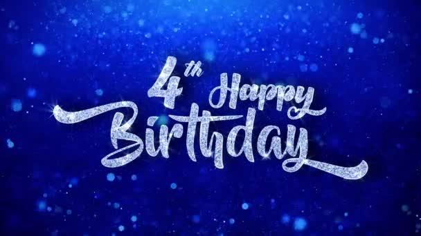 4. narozeniny pozdrav lesklý Text přeje modré třpytky šumivé Glitter Glamour prach blikající částice kontinuální bezešvé cyklických pozadí