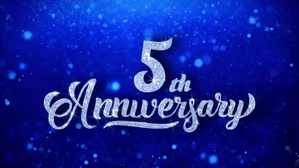 5th Anniversary Greeting Shiny Text Wishes Blue Glitter Sparkling Glitter Glamour Dust Blinking Particles Continuous Seamless Looped Background
