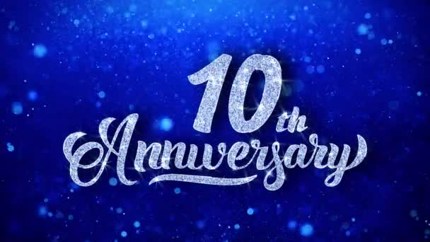10th Anniversary Greeting Shiny Text Wishes Blue Glitter Sparkling Glitter Glamour Dust Blinking Particles Continuous Seamless Looped Background