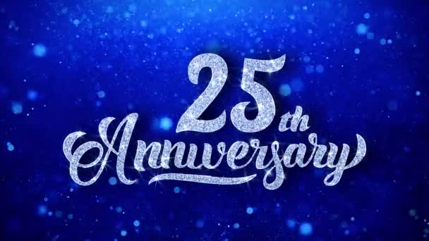 25th anniversary greeting shiny text wishes blue glitter sparkling