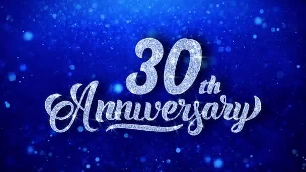 30th anniversary pozdrav lesklý Text přání modré třpytky šumivé Glitter Glamour prach blikající částice kontinuální bezešvé cyklických pozadí