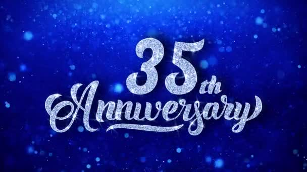 35. výročí pozdrav lesklý Text přeje modré třpytky šumivé Glitter Glamour prach blikající částice kontinuální bezešvé cyklických pozadí