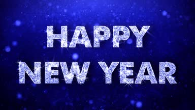 Looping happy new year message in englishgermanfrenchspanish happy new year greeting shiny text wishes blue glitter sparkling m4hsunfo