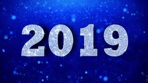 2019 Gruß glänzend Text wünschen blau Glitter funkelnde Glitter Glamour Staub Partikel kontinuierliche nahtlose Schleife Hintergrund blinken
