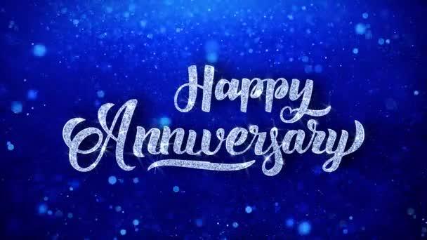 Boldog évfordulót, fényes és küldhetünk kívánja kék csillogó csillogó Glitter Glamour por villogó részecskék folyamatos varrat nélküli végtelenített háttér