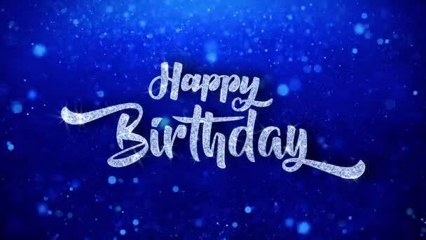 Všechno nejlepší k narozeninám pozdrav lesklý Text přeje modré třpytky šumivé Glitter Glamour prach blikající částice kontinuální bezešvé cyklických pozadí