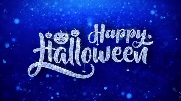 fröhlich halloween gruß glänzender text wünscht blaues glitzern glitzern glanz glanz glanz staub blinkende partikel durchgehende nahtlose schleife hintergrund