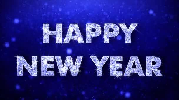 Šťastný nový rok s pozdravem lesklý Text přeje modré třpytky šumivé Glitter Glamour prach blikající částice kontinuální bezešvé cyklických pozadí